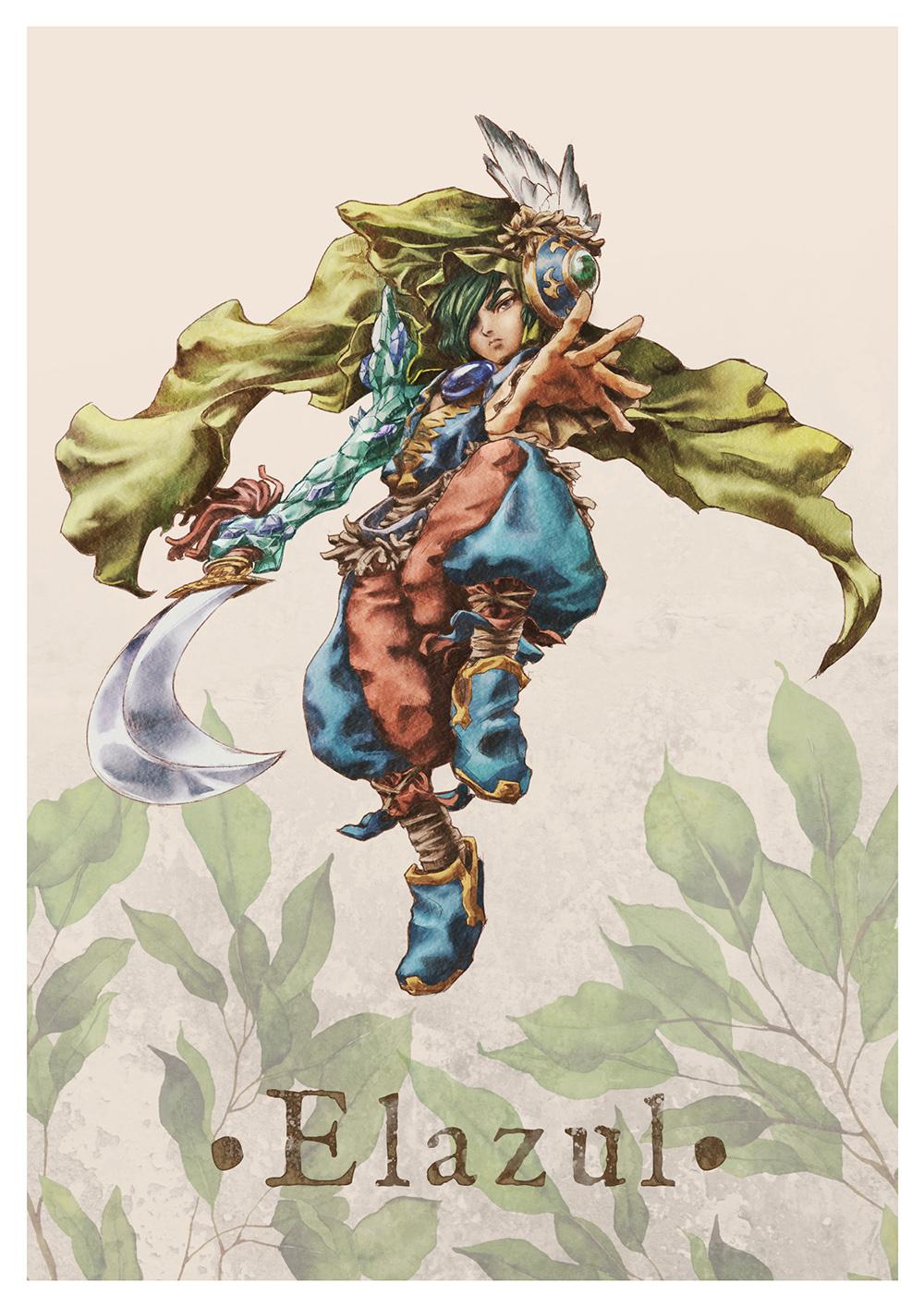 Paola Tuazon - 聖剣伝説 Seiken Densetsu: Legend of Mana - 瑠璃 Jumi Knight Elazul (Lapiz Lazuli) Male Character Fanart PS1 JRPG Game