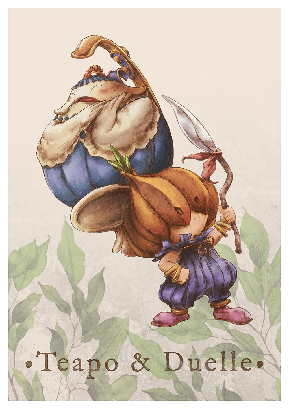 Paola Tuazon - 聖剣伝説 Seiken Densetsu: Legend of Mana - 瑠璃 Teapo Duelle Onion Knight Character NPC Fanart PS1 JRPG Game